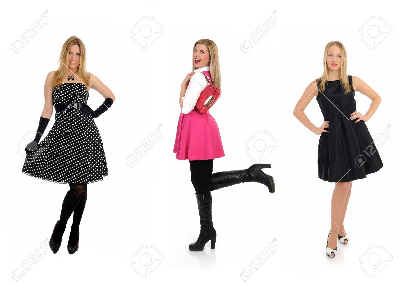 three pretty shopping woman friends smiling. isolated on white Stock Photo - 11257418