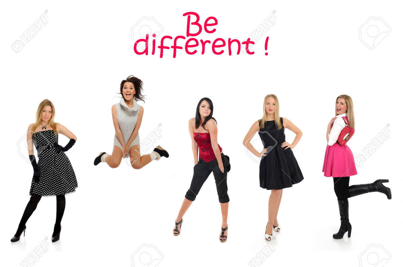 group of beautiful woman and one crazy girl jumping Stock Photo - 11257417