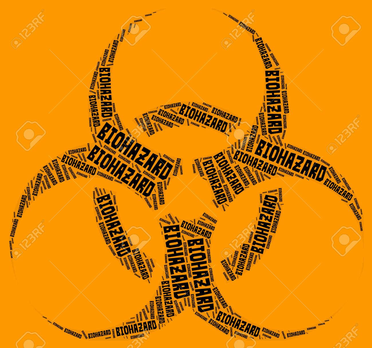 Biohazard Symbol Word Cloud Black Word Cloud Over Orange Background