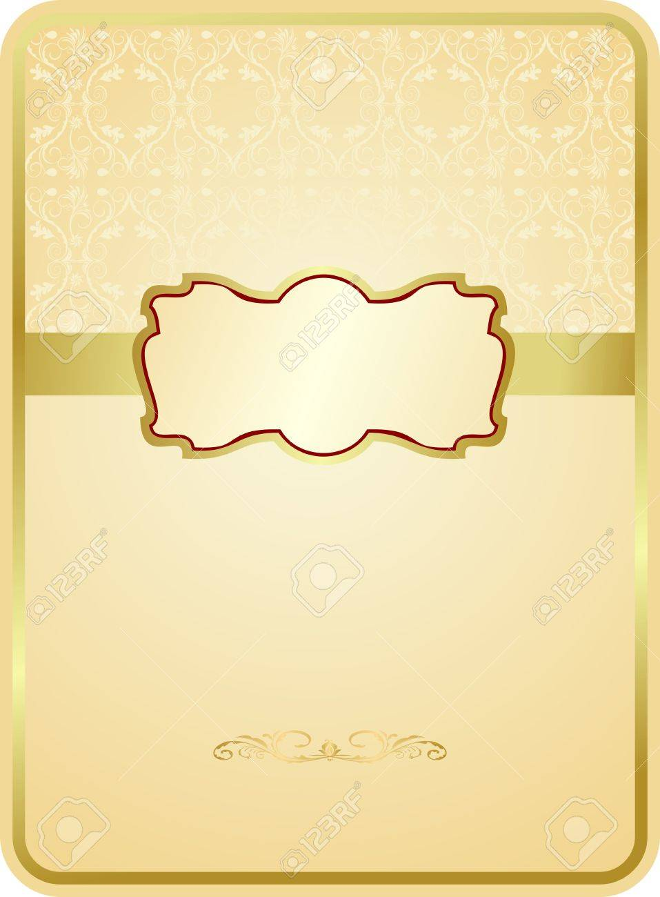 Wedding card with gold emblem Stock Vector - 7589850