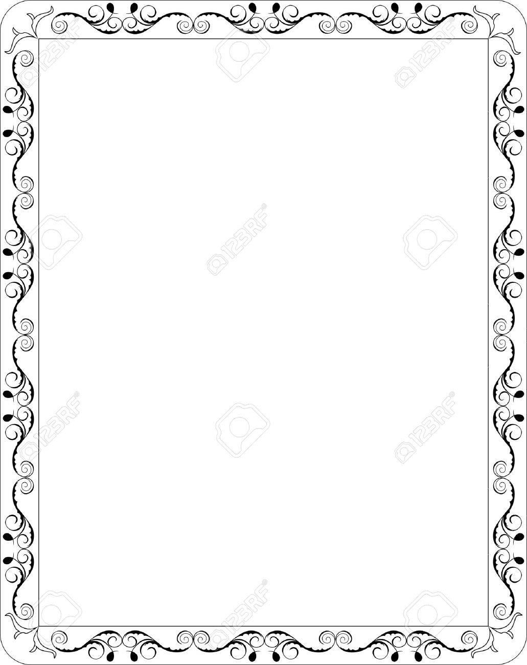 Borde De Marco Floral En Blanco De Ilustración Ilustraciones ...