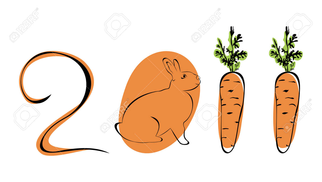 Rabbit is symbol 2011 Chinese new years. Stock Vector - 7851342