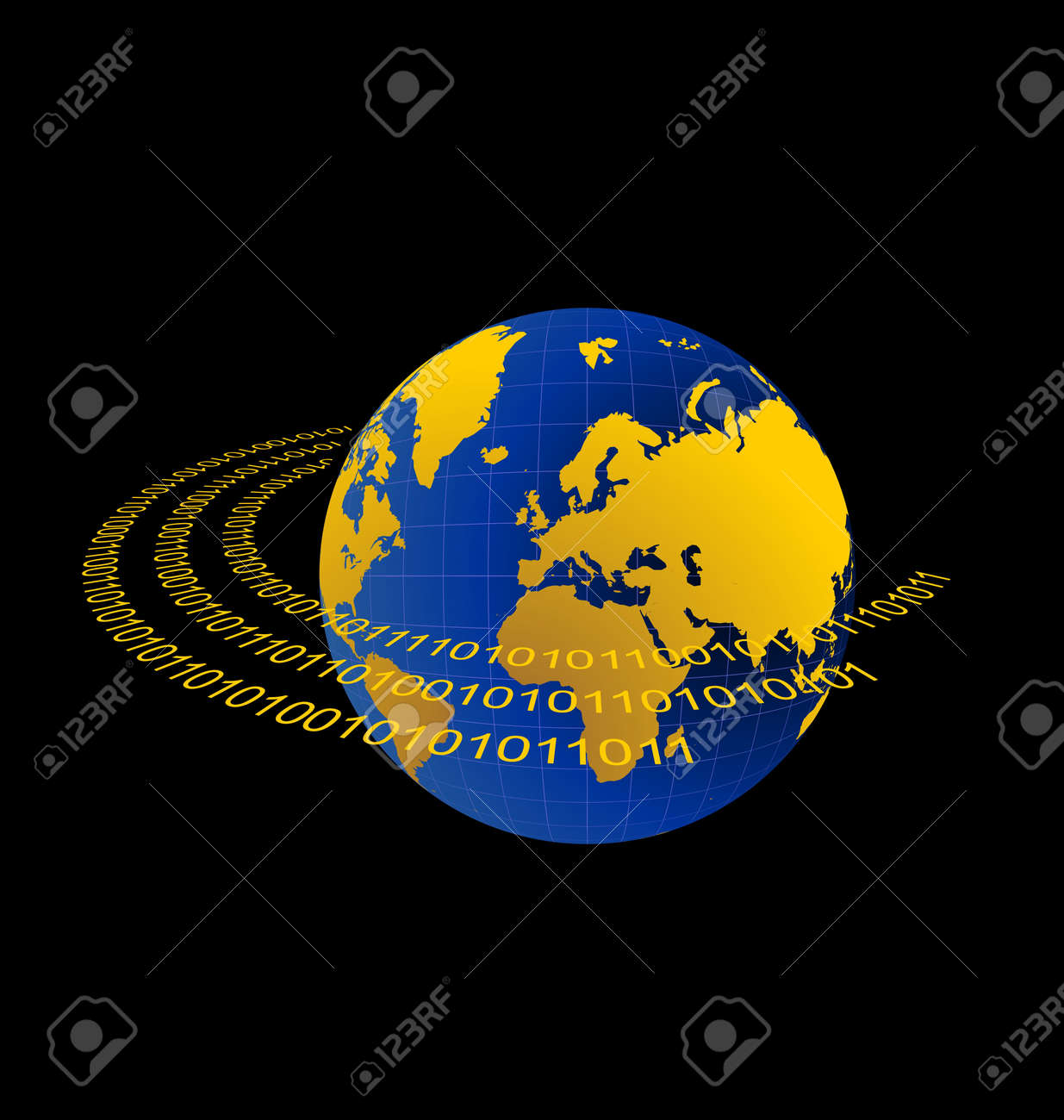 Illustration of data stream around terra planet on black background Stock Vector - 7852087