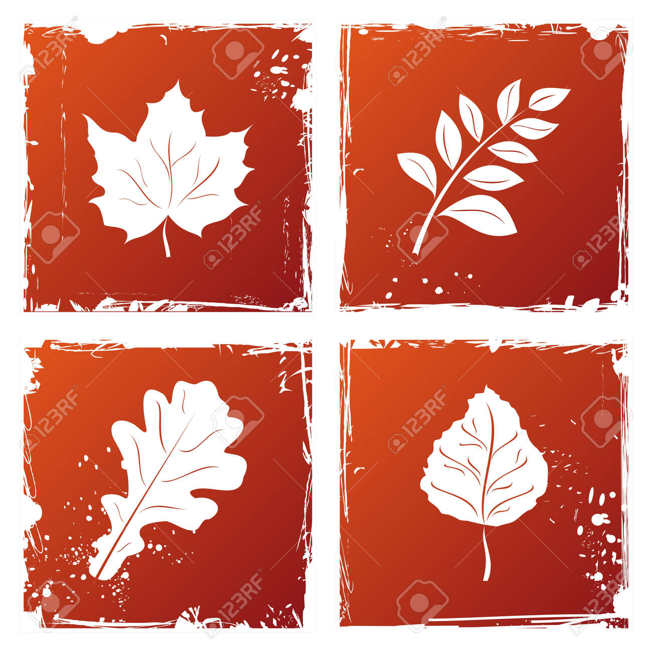 Set of grunge autumn leaves. Stock Vector - 7852120