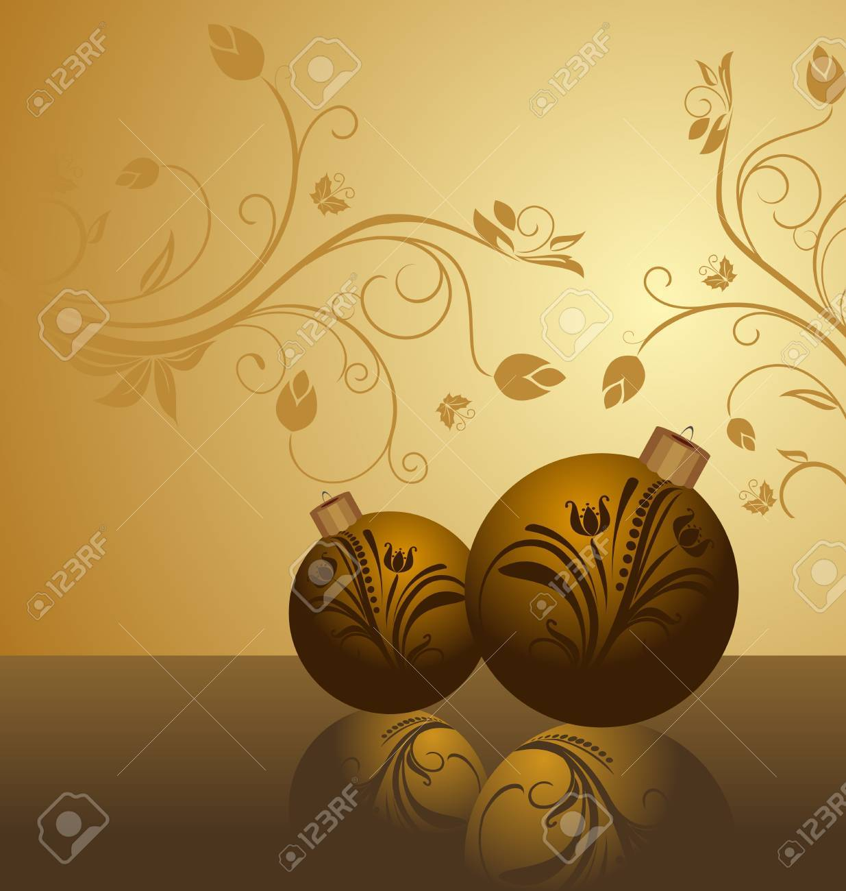 Illustration floral background with christmas balls Stock Vector - 8290058