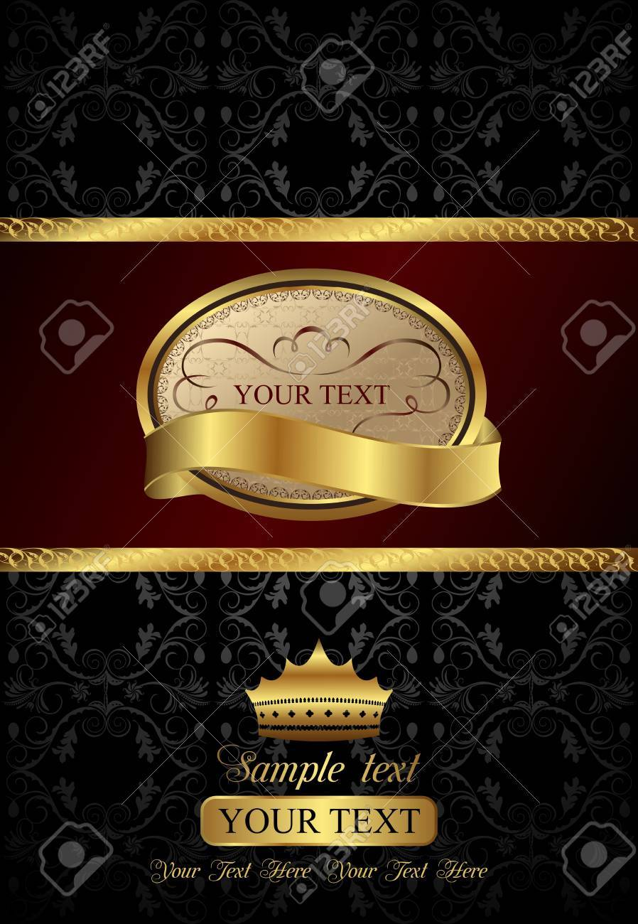Illustration background with golden luxury label and crown Stock Photo - 8716167