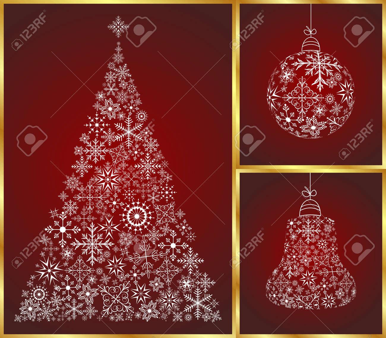 Illustration abstract christmas set pine, ball and bell Stock Illustration - 8716522