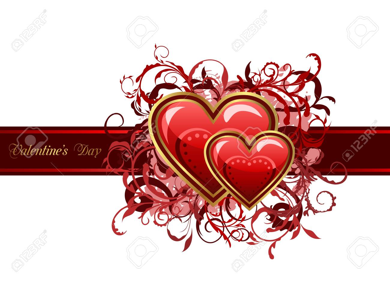 Illustration of Valentine's grunge card with hearts - vector Stock Photo - 8716434