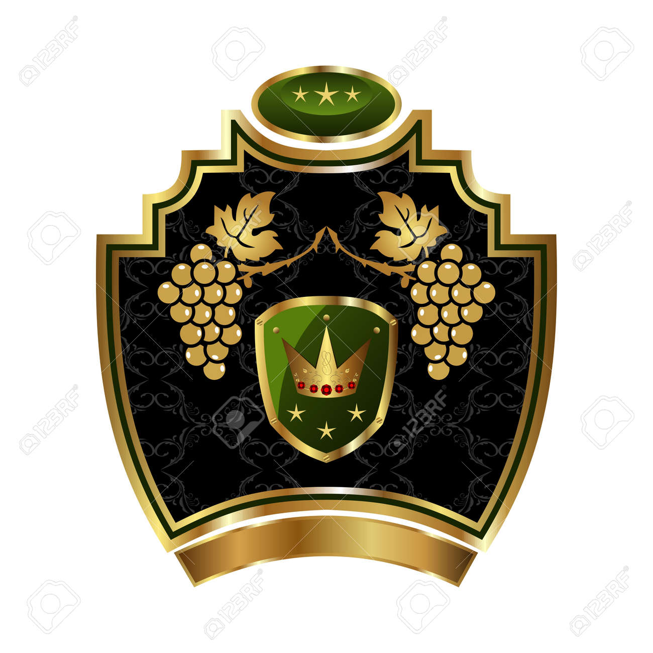 Illustration gold label with grapevine with crown - vector Stock Illustration - 9247396