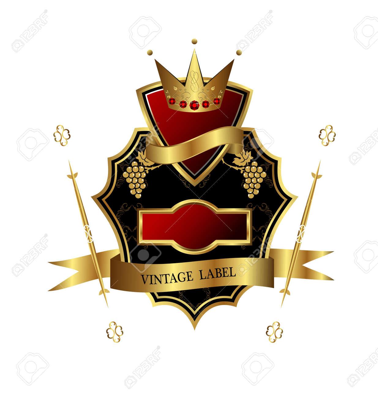 Illustration of black golden label for design heraldic or packing wine isolated on white background - vector Stock Illustration - 9247388