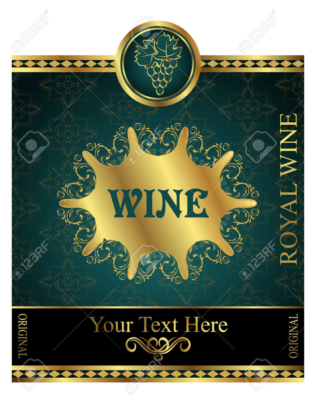 Illustration golden label for packing wine - vector Stock Illustration - 9247456