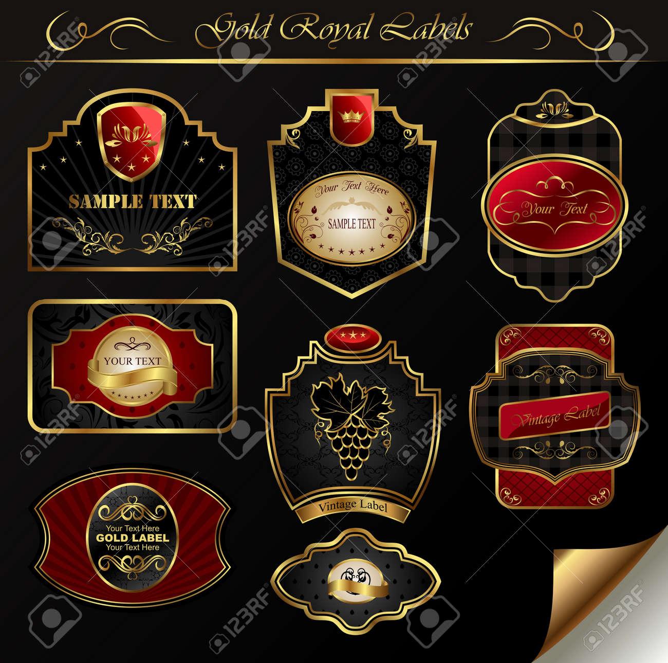 Illustration set black gold-framed labels - vector Stock Illustration - 9247446