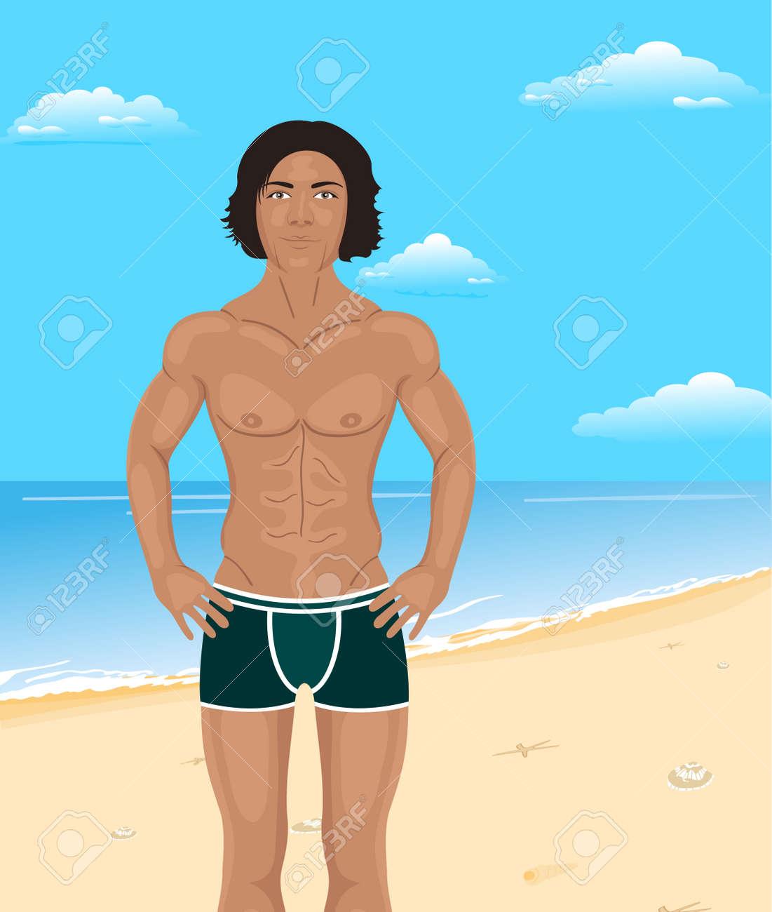 Illustration brawny man on beach - vector Stock Vector - 9488028
