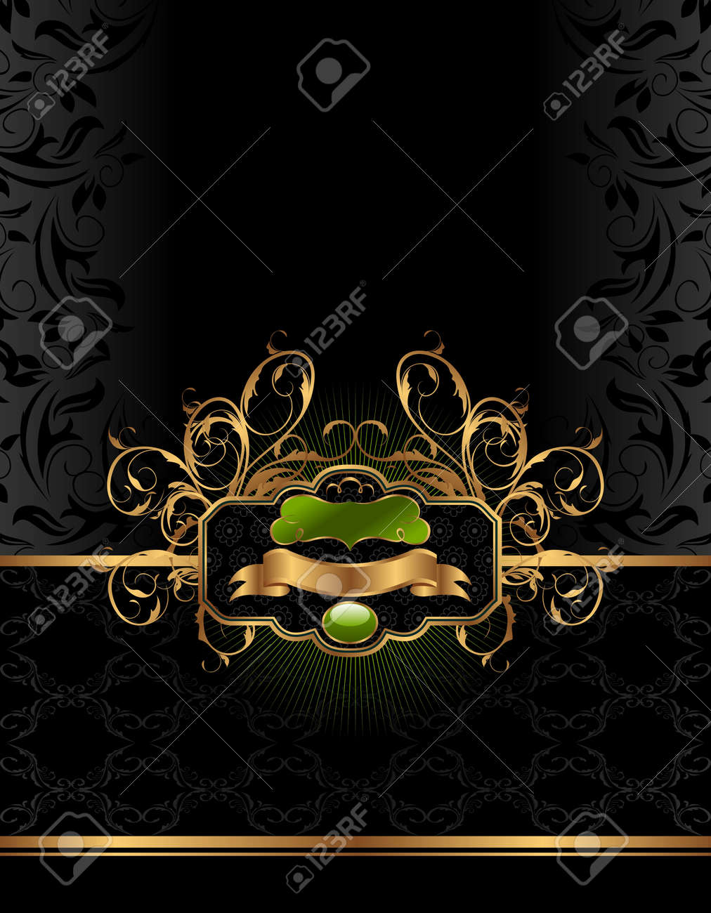 Illustration golden luxury background with label - vector Stock Vector - 9722099