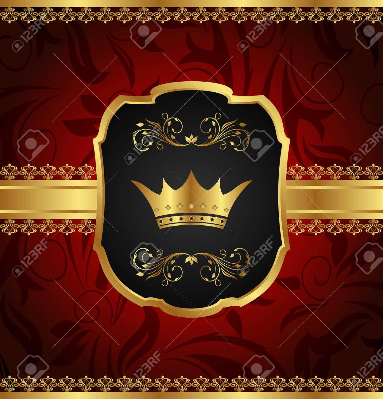 Illustration golden vintage frame with crown - vector Stock Photo - 9896131