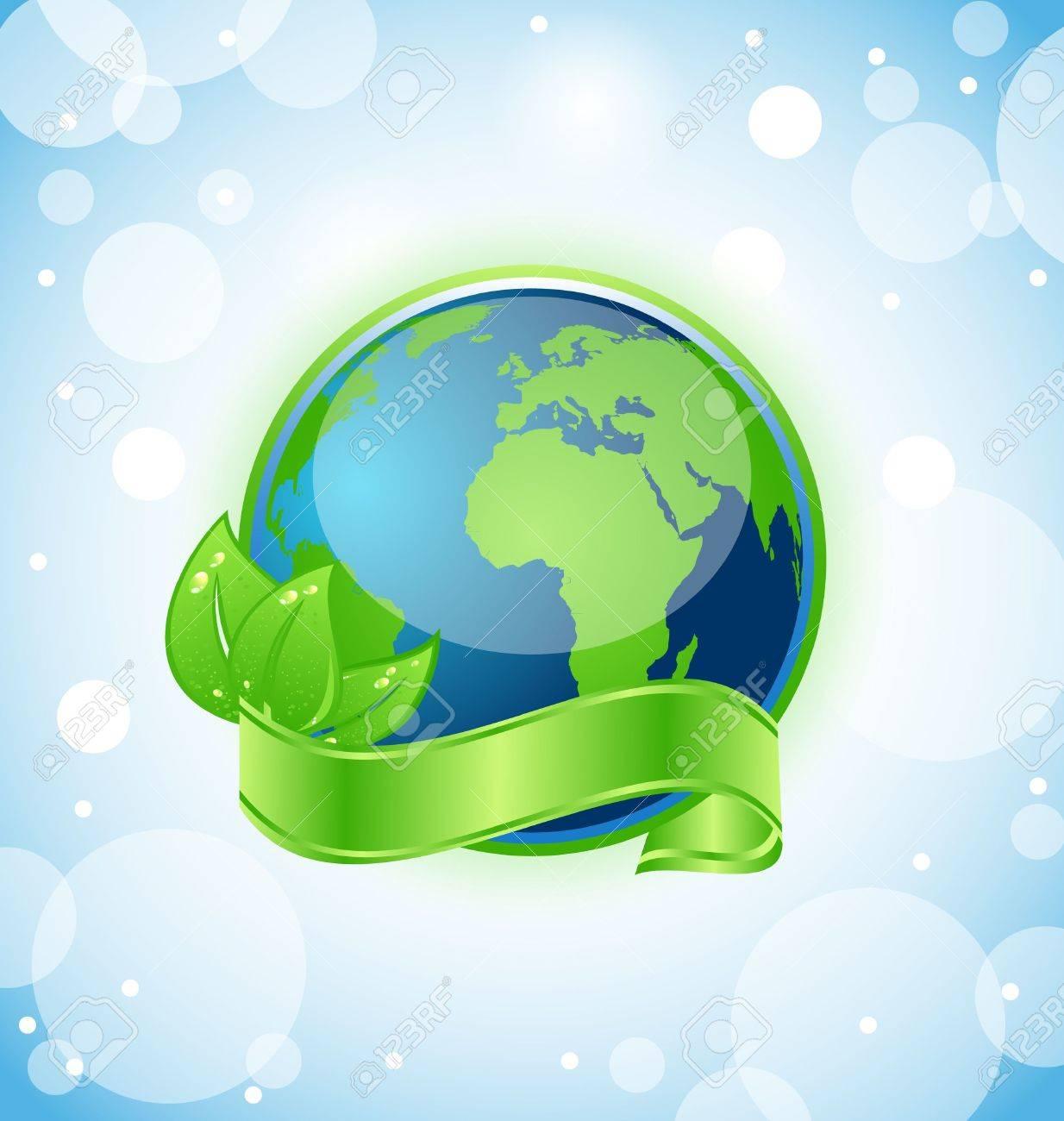 葉と緑の地球のイラストを包んでリボン ベクトルのイラスト素材