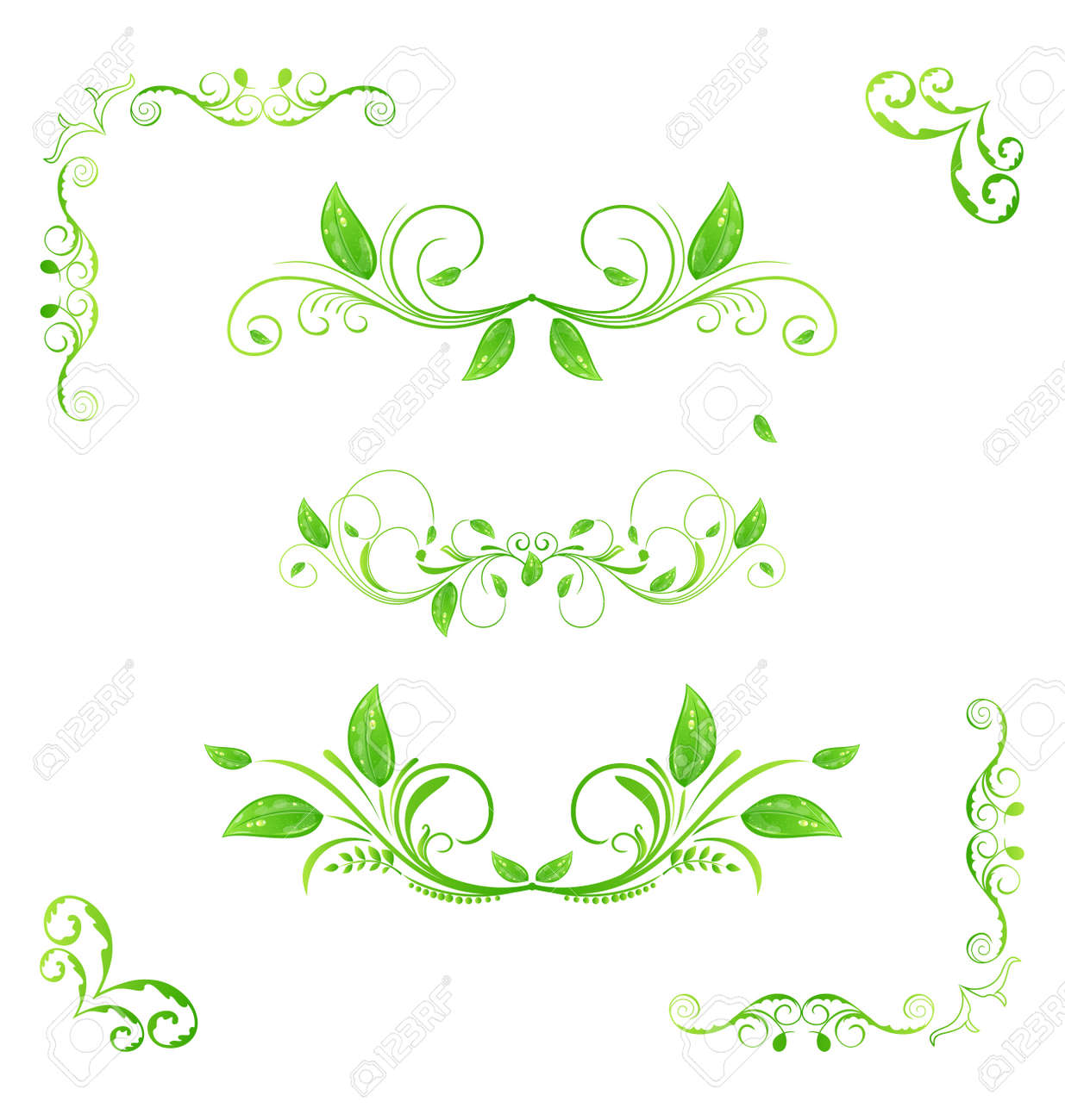 Illustration set green floral elements with eco leaves isolated (2) - vector Stock Illustration - 14492999