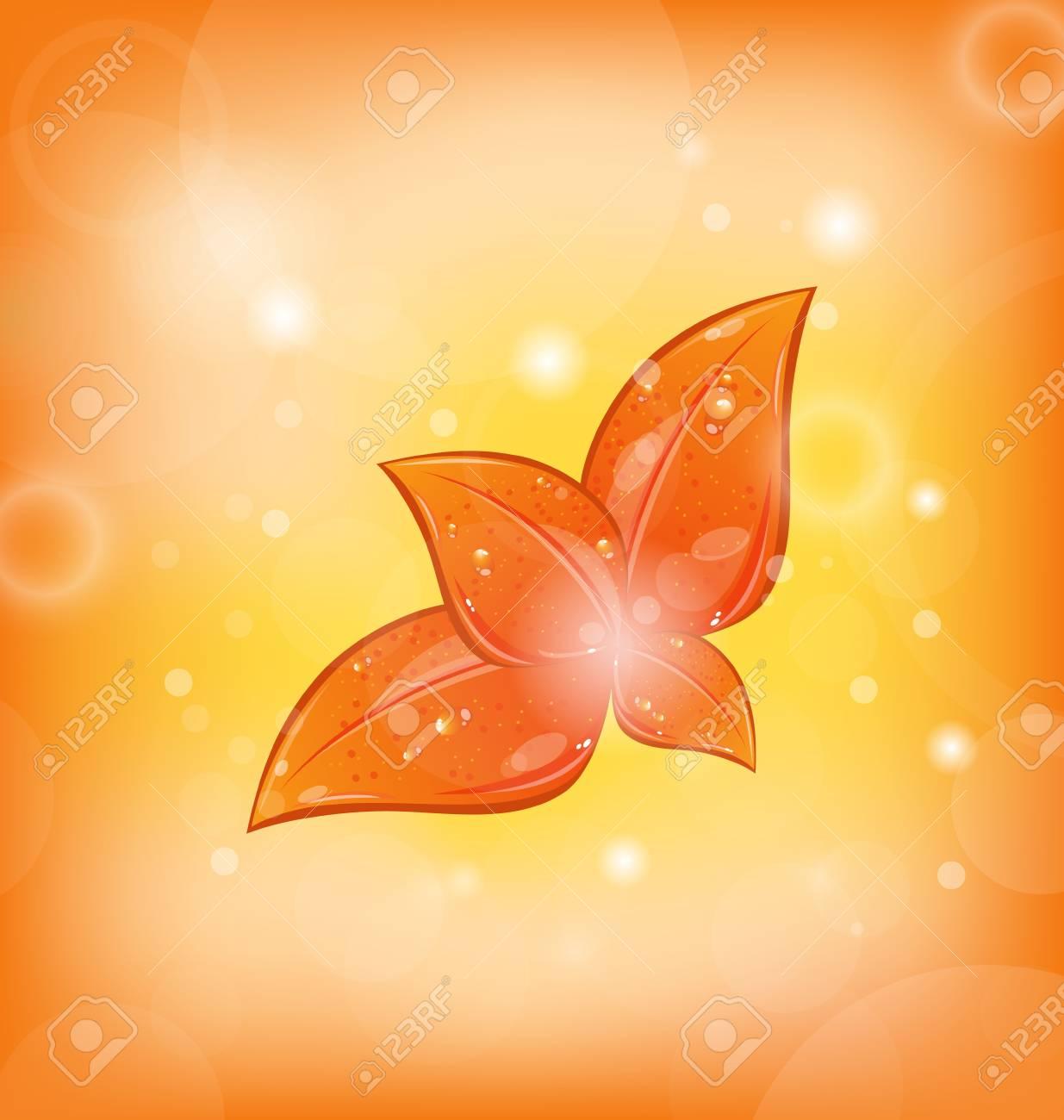 Illustration autumnal background with set orange leaves Stock Photo - 15125371
