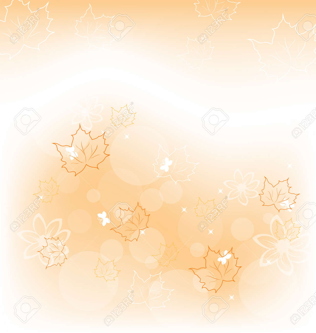 Illustration autumn background with orange maple leaves Stock Illustration - 15125364