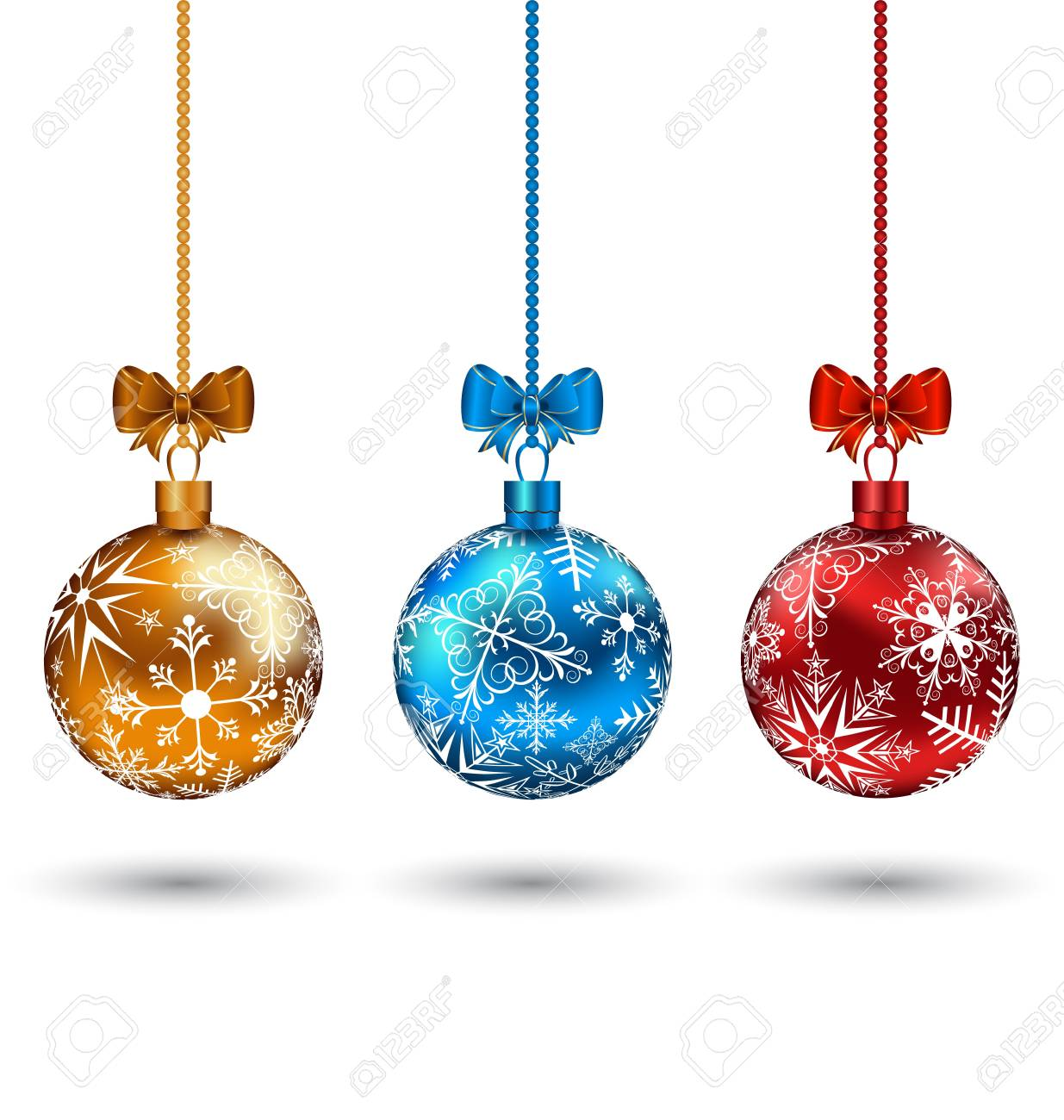 Illustration Christmas multicolor balls with bows isolated on white background Stock Photo - 15845865