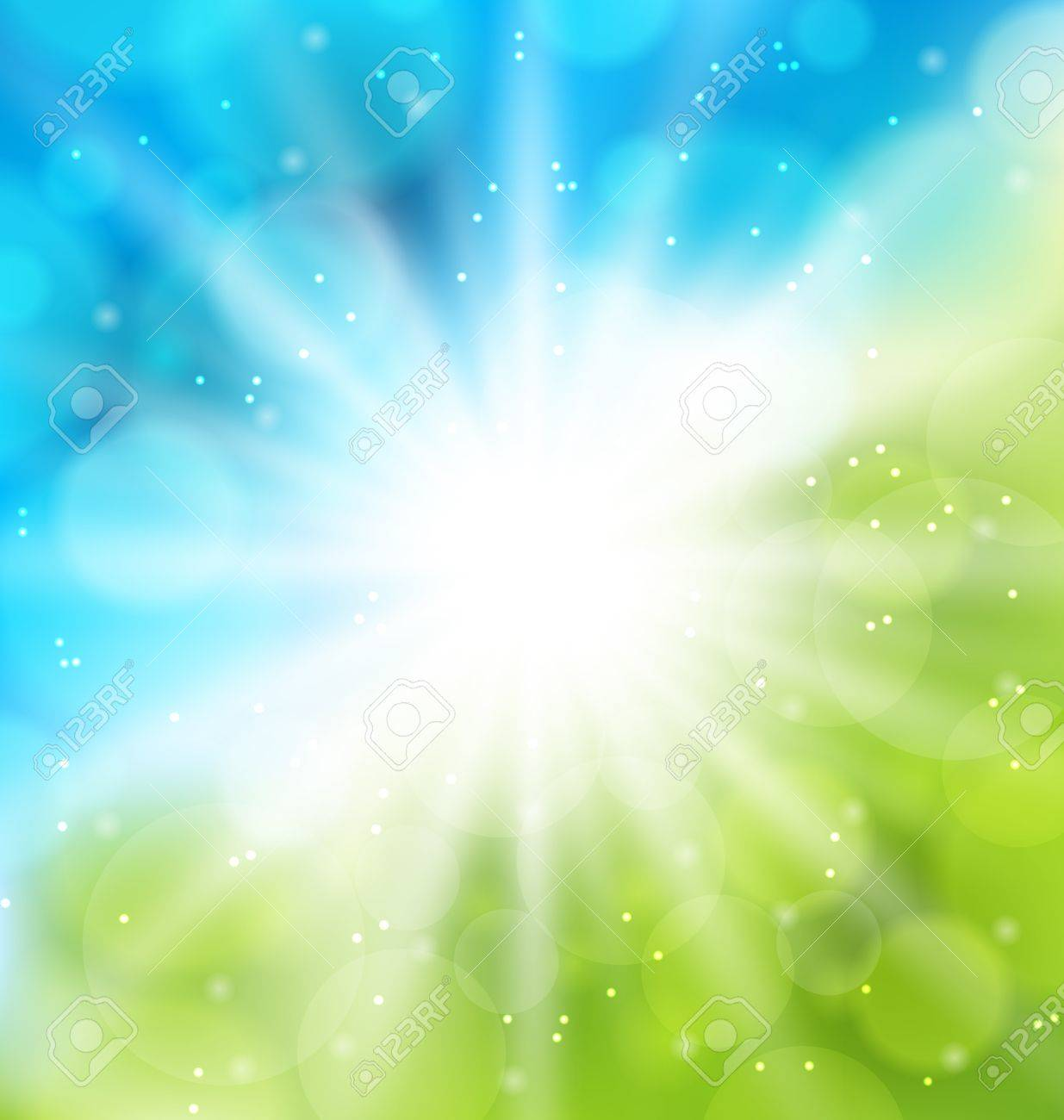 Illustration cute nature background with lens flare - vector Stock Photo - 19676395
