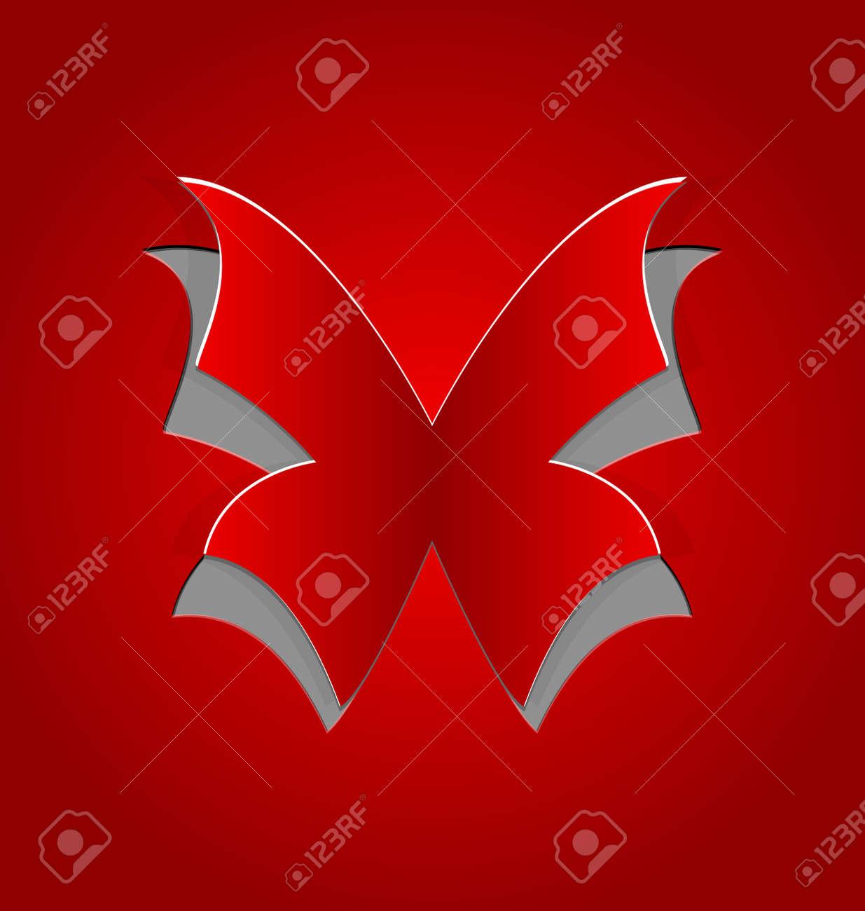 Ilustración Cortado Mariposa, Papel De Color Rojo Fotos, Retratos ...