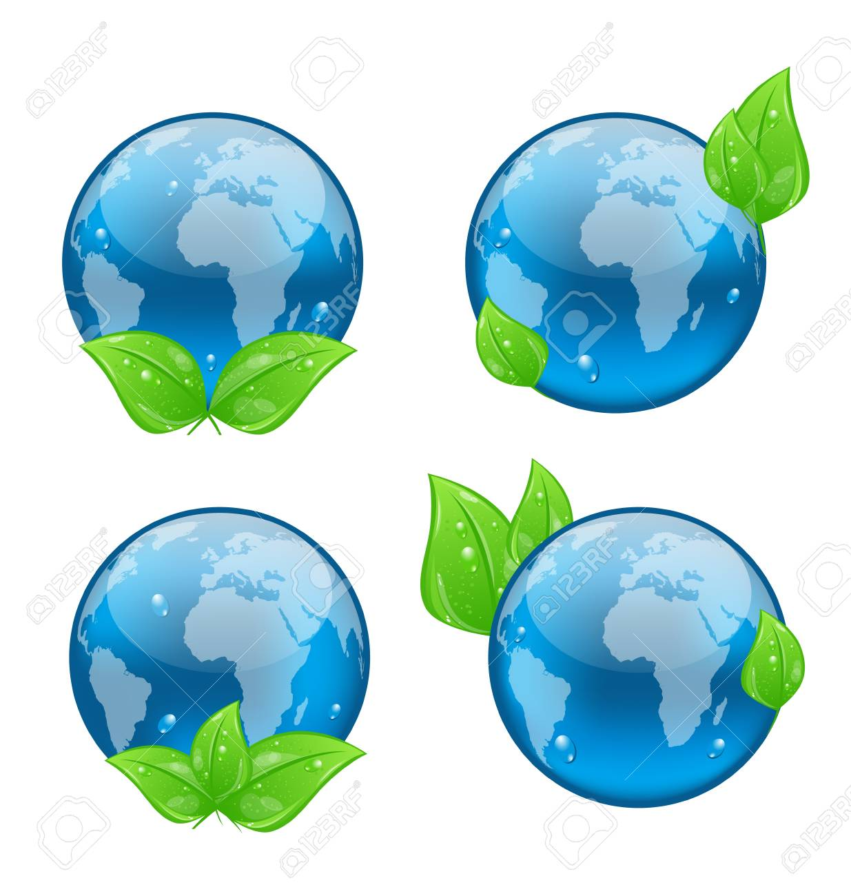 Illustration set icon earth with green leaves isolated on white background, environment symbols - vector Stock Illustration - 19676336