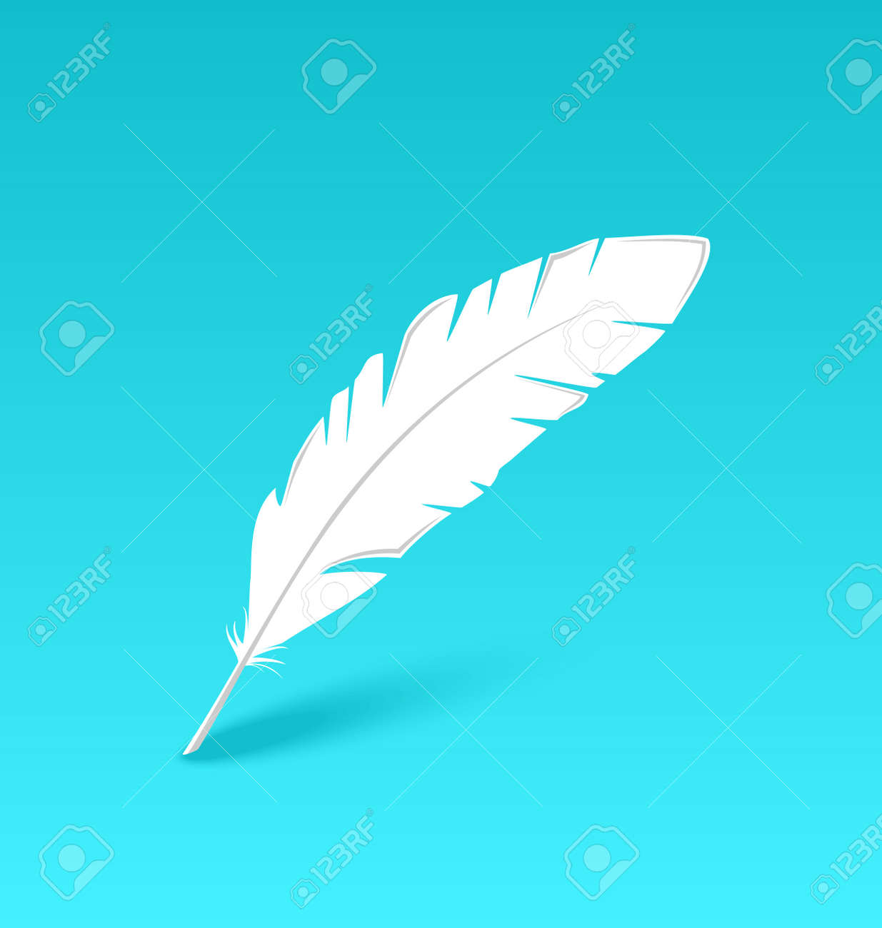 Illustration white feather isolated on blue background - vector Stock Photo - 22096281