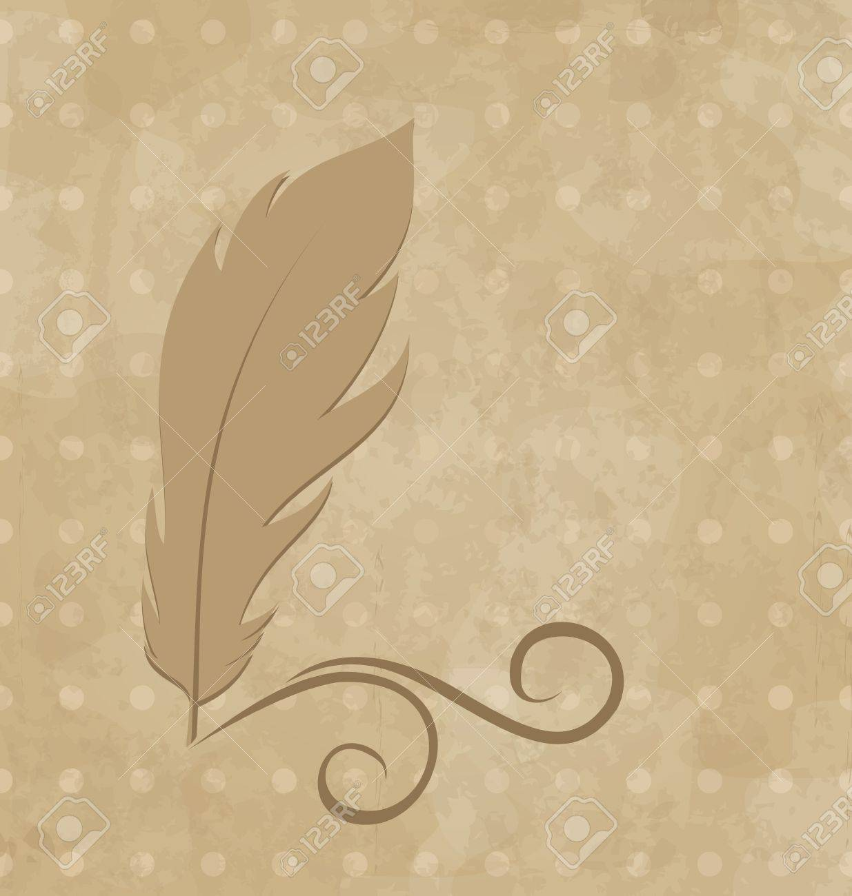 Illustration feather calligraphic pen, vintage background - vector Stock Photo - 22096287