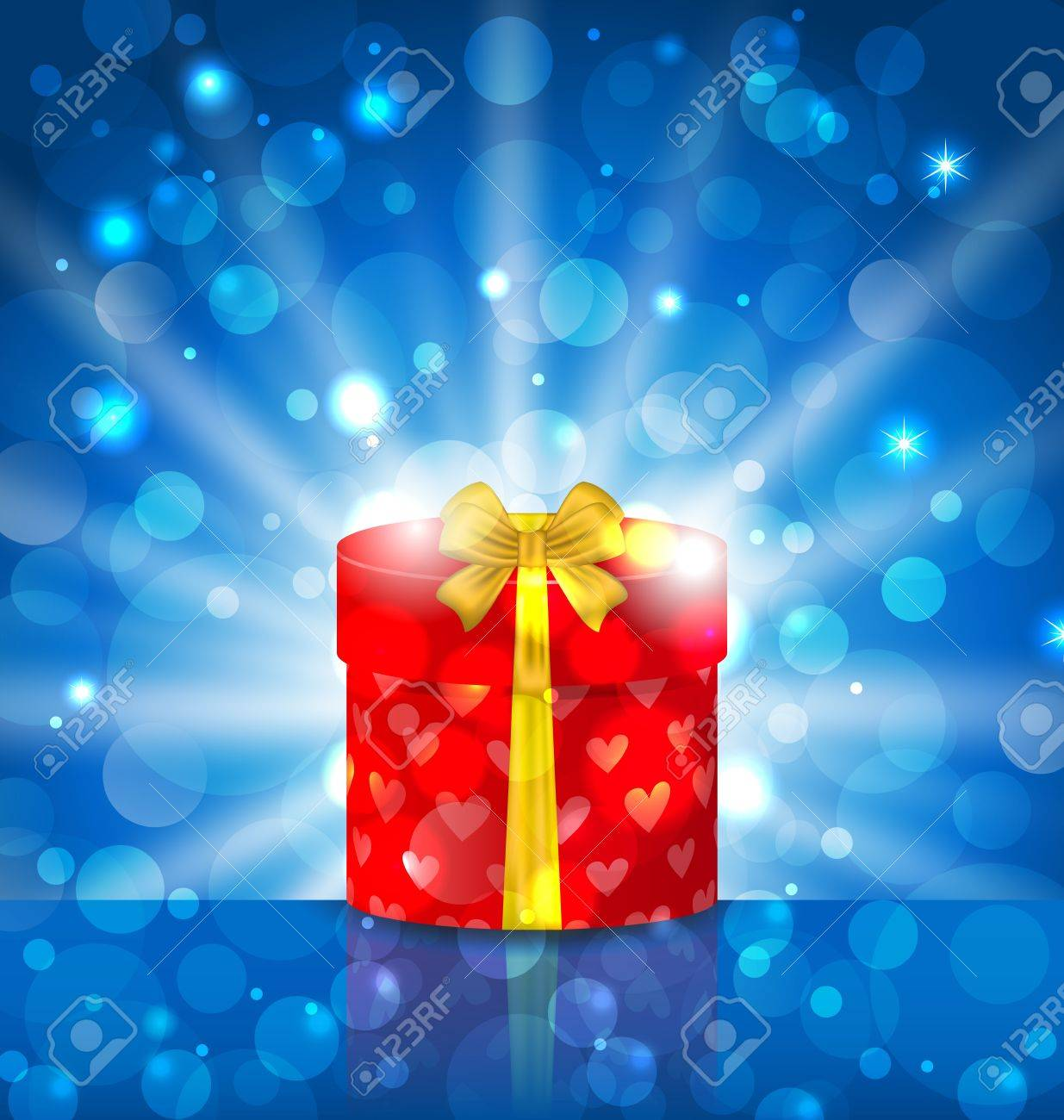 Illustration round gift box on light background with glow - vector Stock Illustration - 22096290