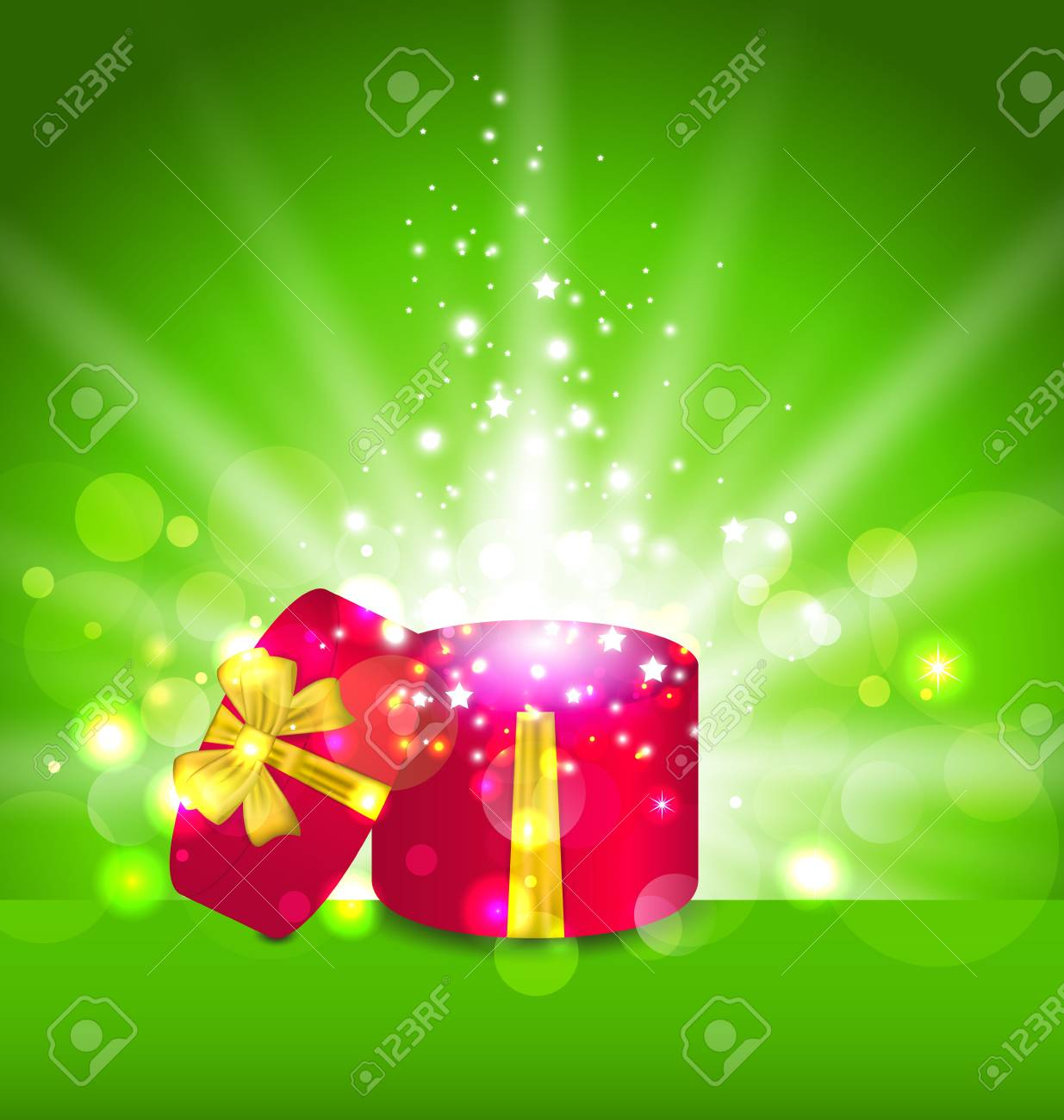 Illustration Christmas background with open round gift box - vector Stock Photo - 22096293