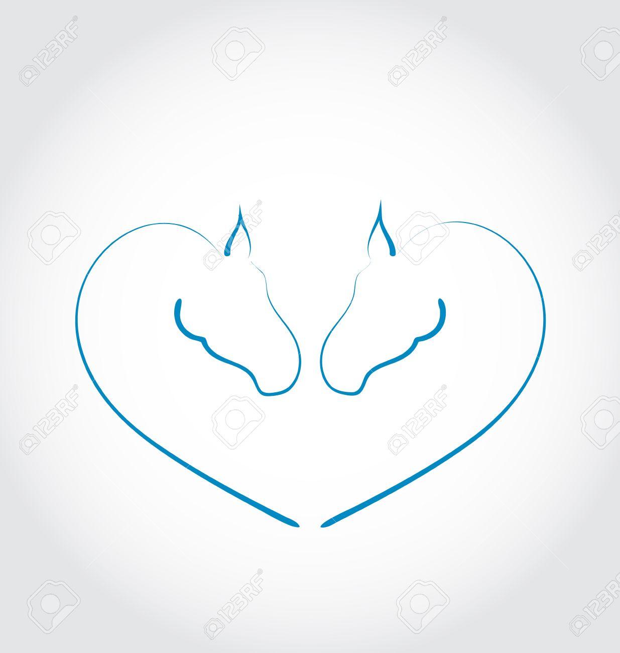 Illustration two horses stylized heart shape - vector Stock Illustration - 22096332