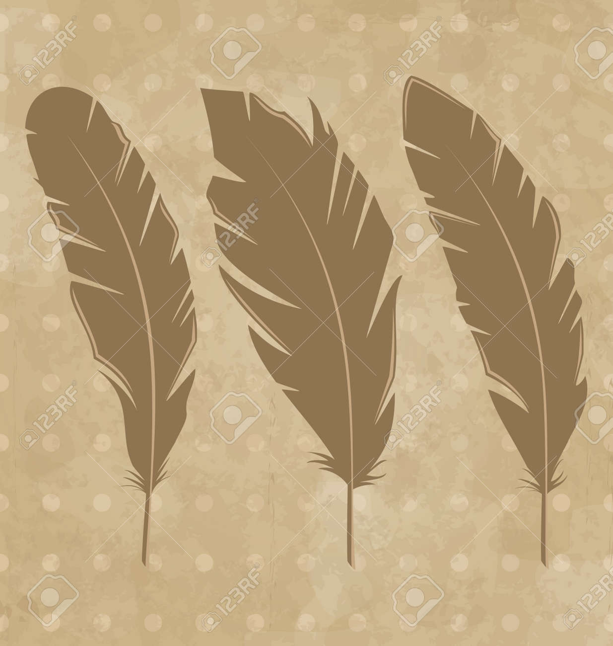 Illustration set vintage feathers on grunge background - vector Stock Illustration - 22096351