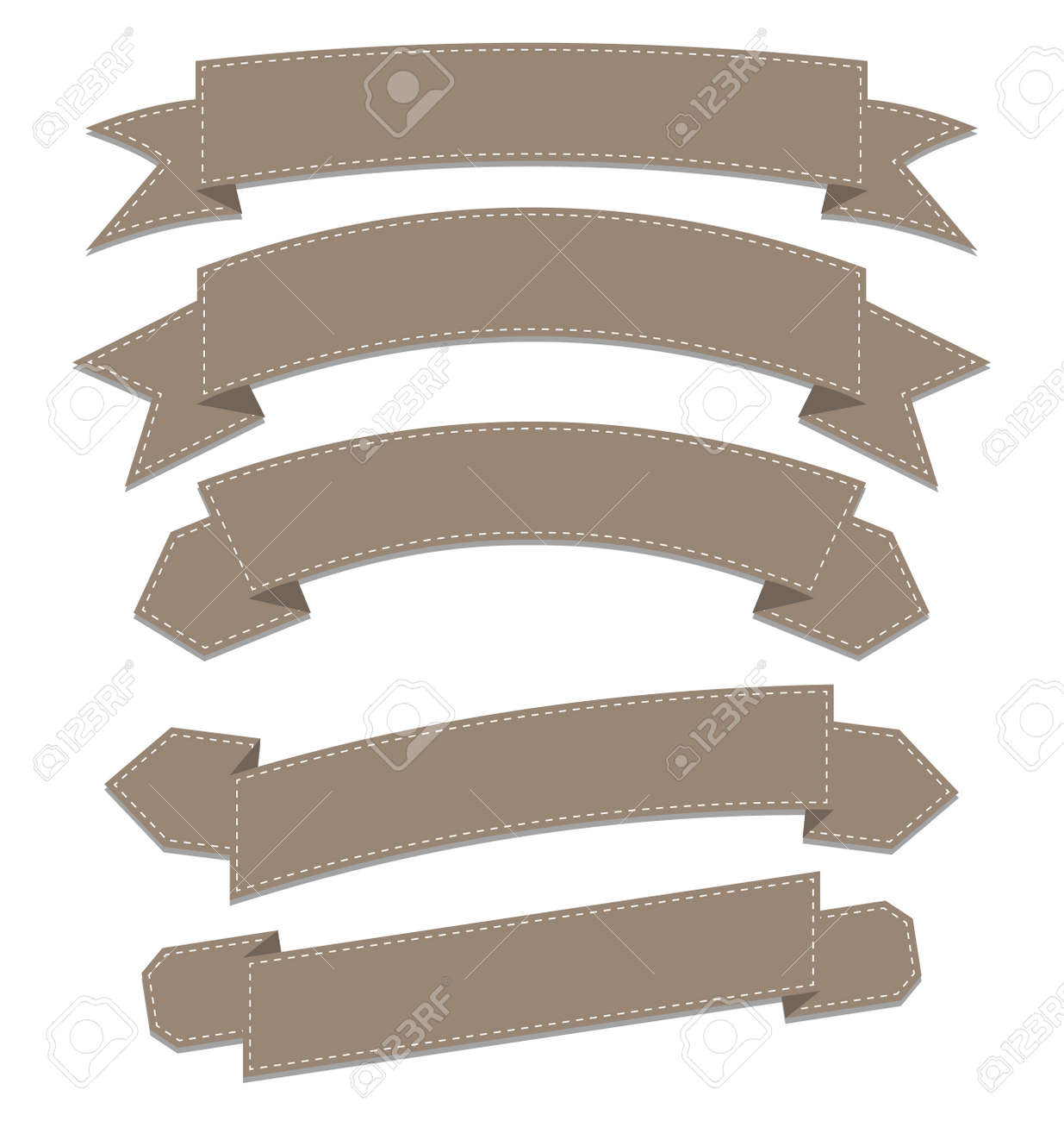 Illustration set leather ribbons, various forms - vector Stock Photo - 22096361