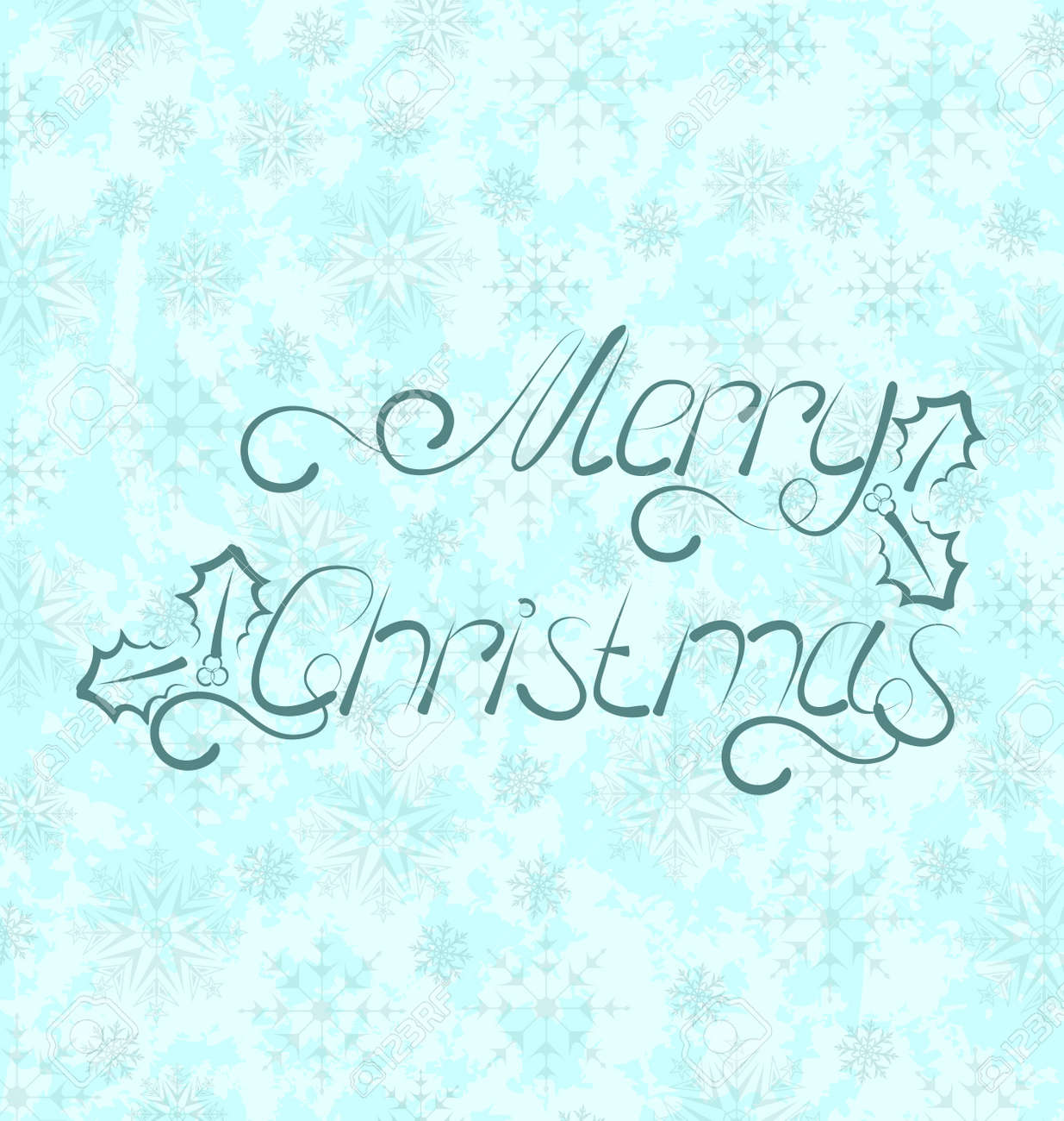 Illustration calligraphic Christmas lettering, snowflakes texture - vector Stock Photo - 22096368
