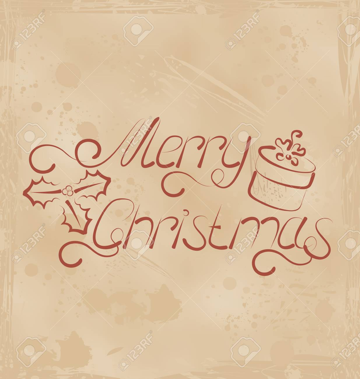 Illustration calligraphic Christmas lettering, grunge background - vector Stock Photo - 22096372