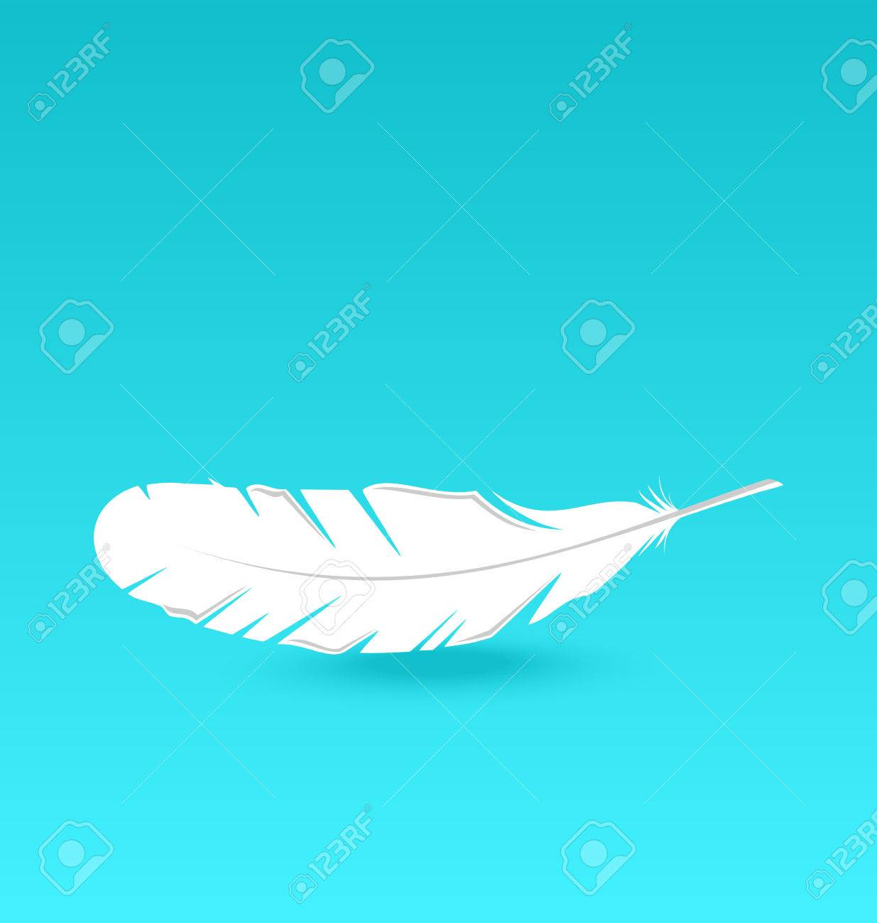 Illustration white feather falling - vector Stock Vector - 24211391