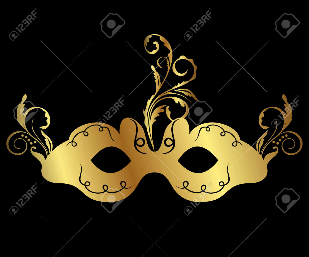 Illustration gold floral carnival mask isolated - vector Stock Vector - 24211419