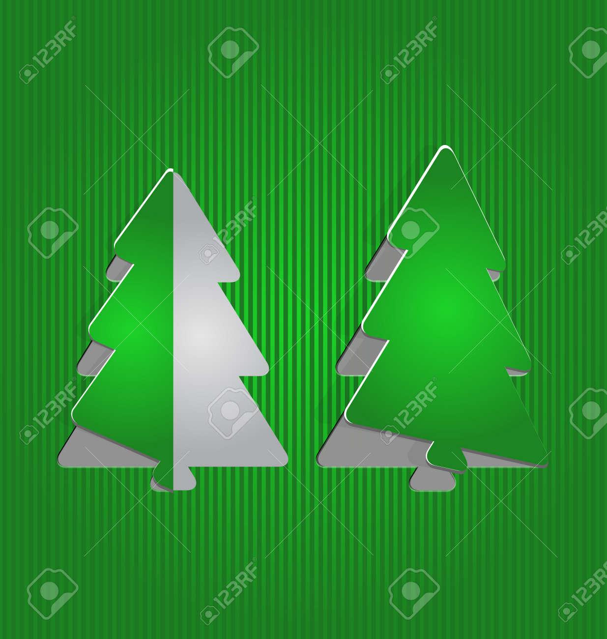 Illustration Christmas cutout paper tree, minimal background - vector Stock Vector - 24211532