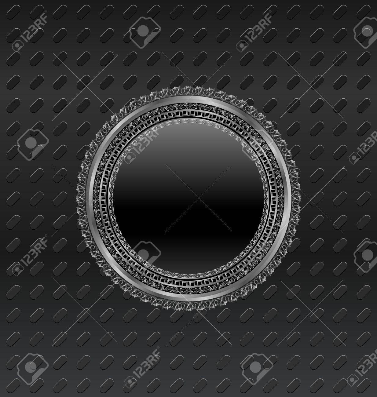 Illustration heraldic circle shield on titanium background - vector Stock Vector - 24332194