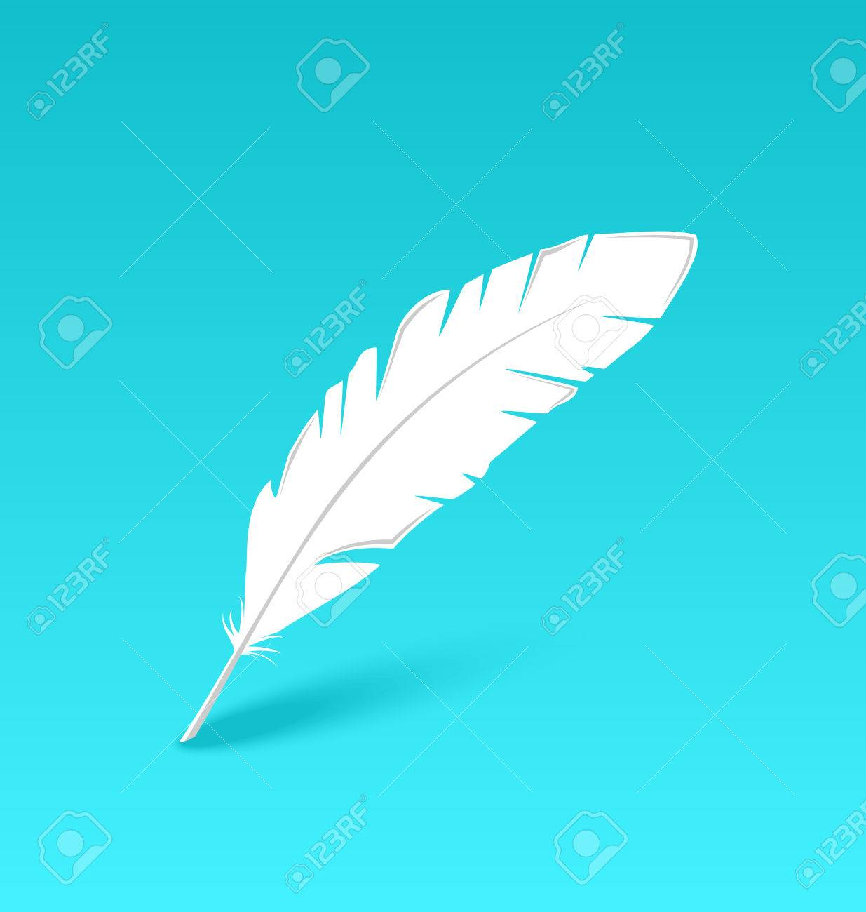 Illustration white feather isolated on blue background - vector Stock Vector - 24333539