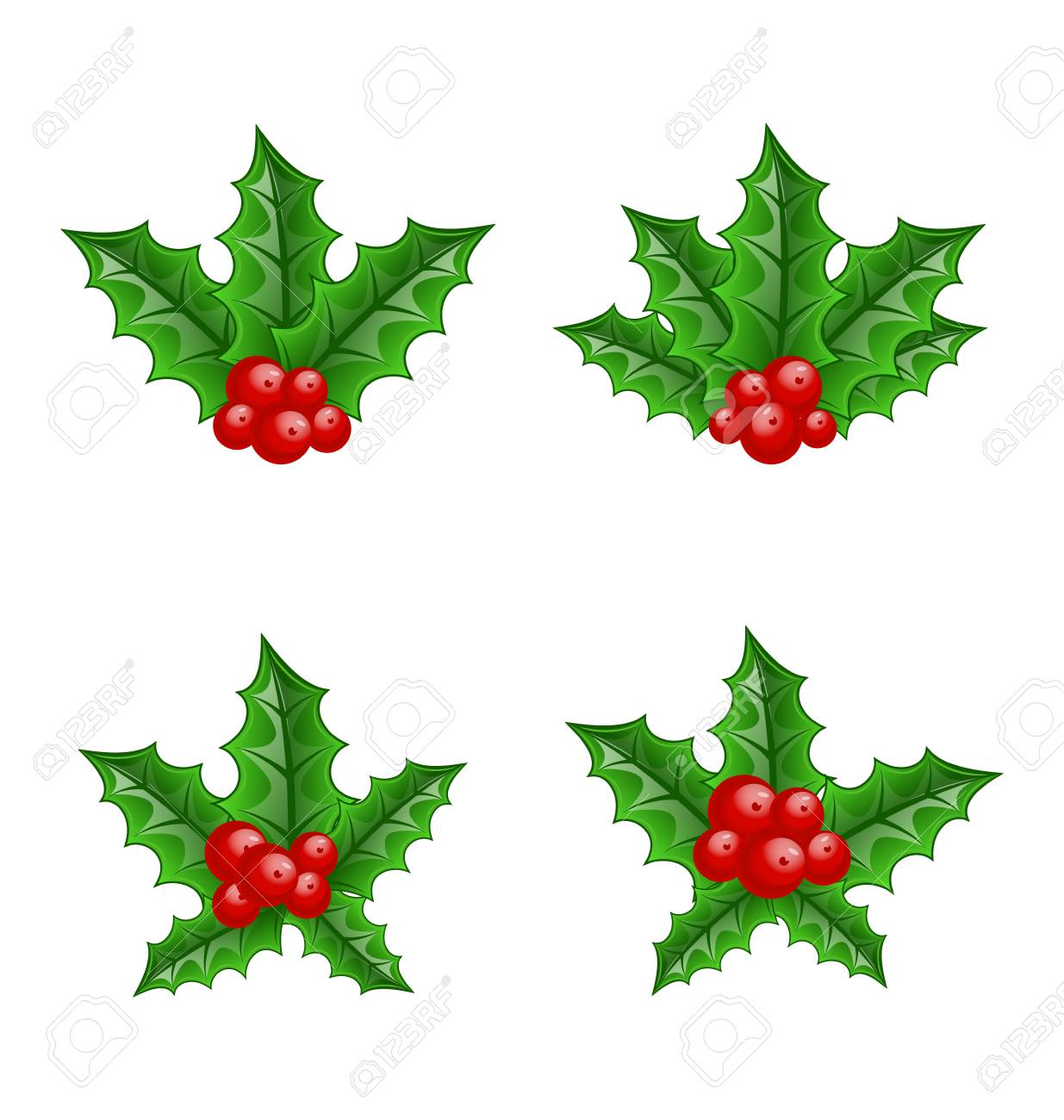 Illustration Christmas set holly berry branches isolated on white background - vector Stock Vector - 24333693