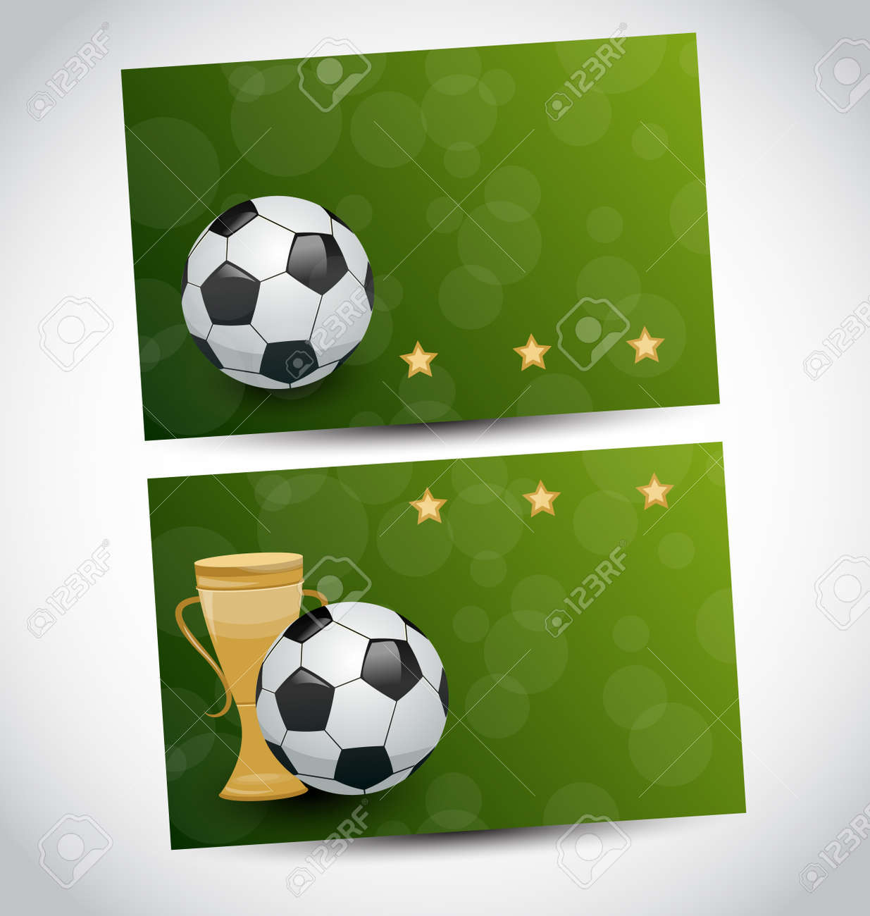 Illustration football cards with champion cup Stock Vector - 24379775