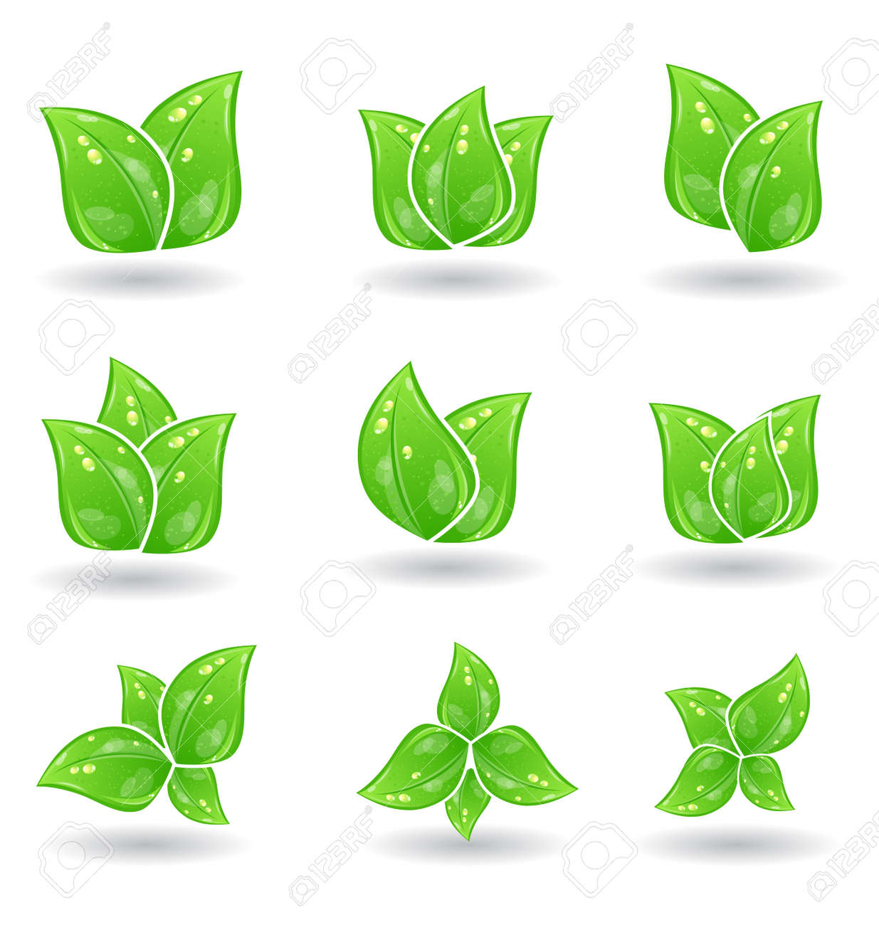 Illustration set of green eco leaves isolated on white background - vector Stock Vector - 24379759