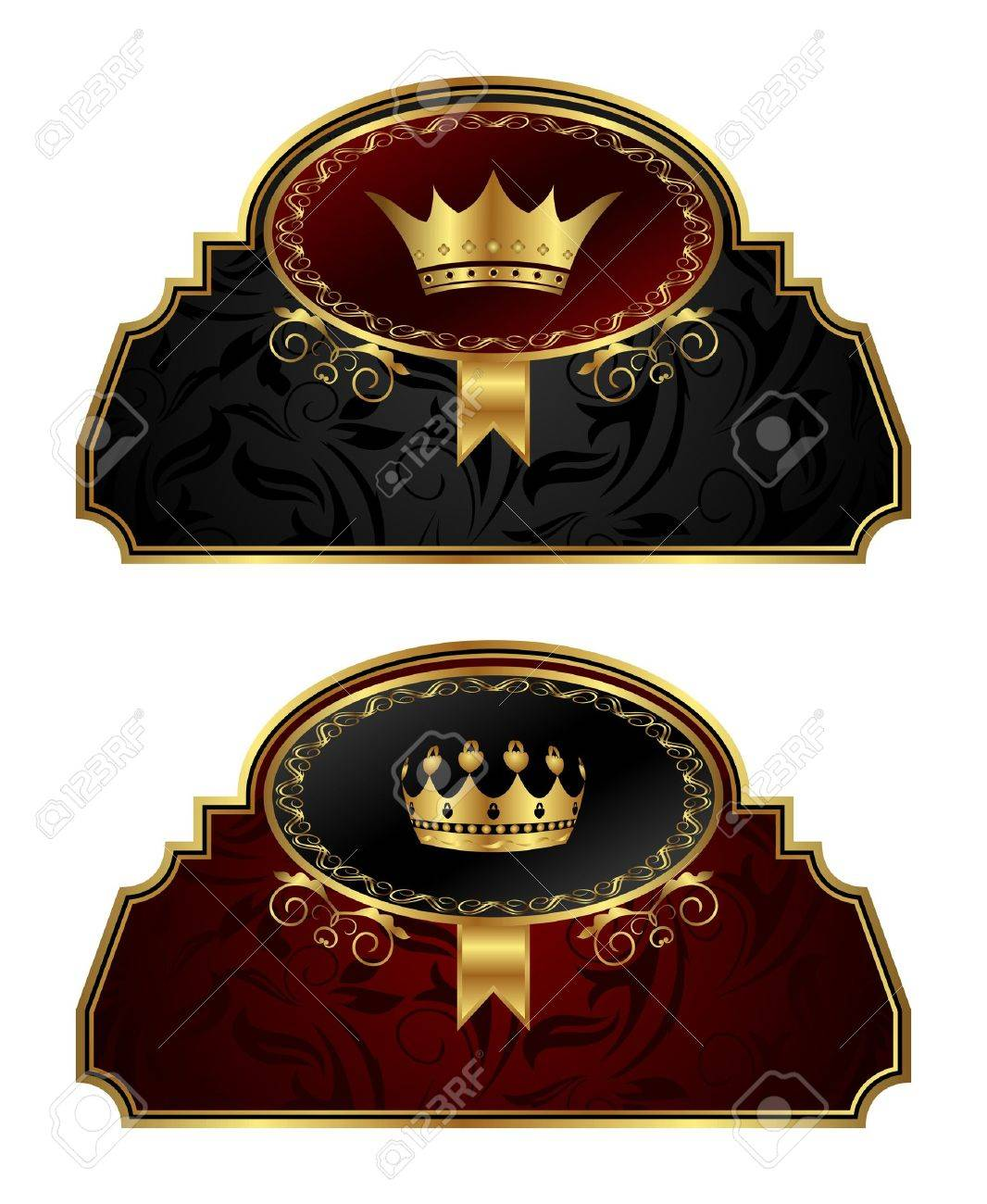 Illustration set gold vintage labels with crown - vector Stock Vector - 24379811