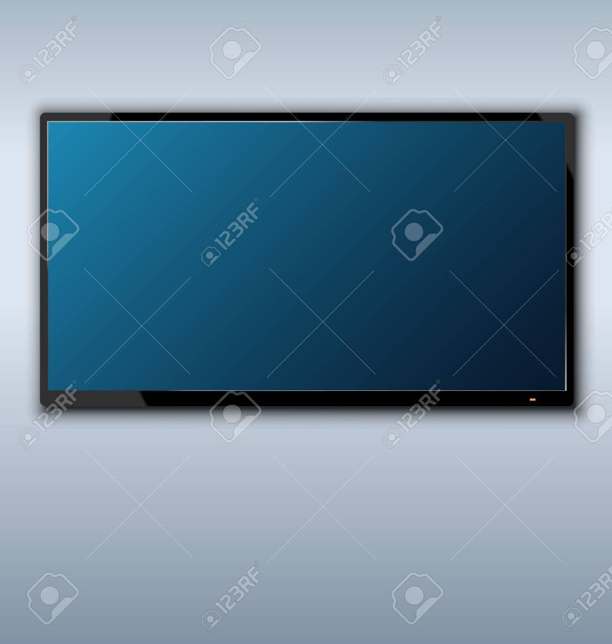 Illustration Fernseher An Der Wand Hängen Hintergrund Lizenzfrei