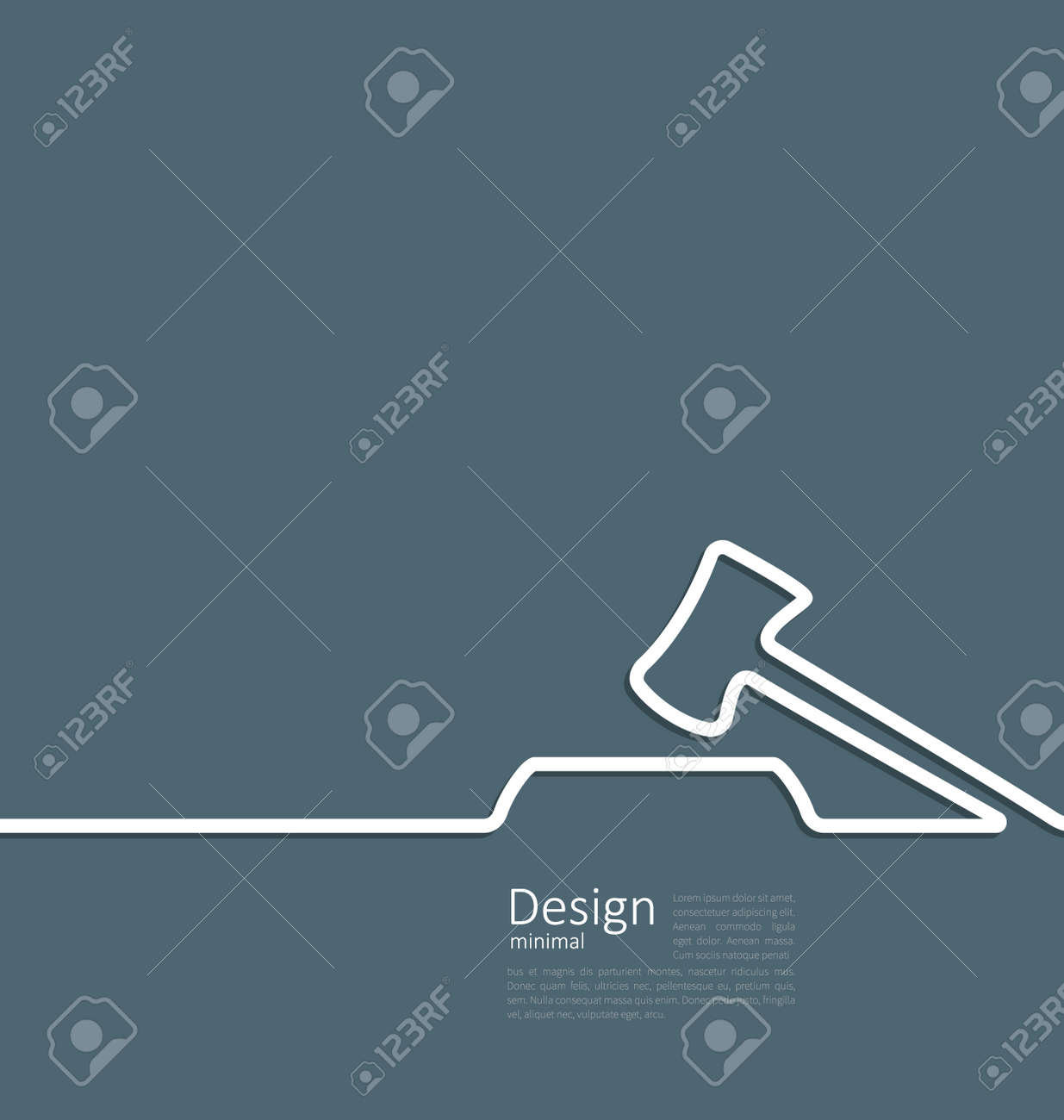 Illustration icon of hammer judge, template corporate style logo - vector - 34029274