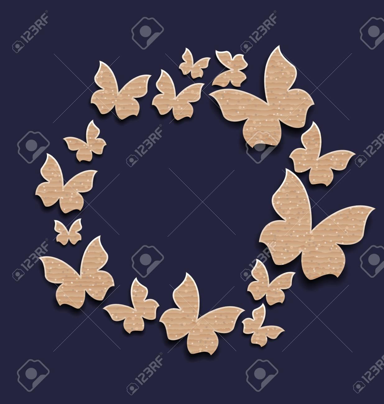 Ilustración Del Marco Del Círculo Con Las Mariposas Hechas En Cartón ...