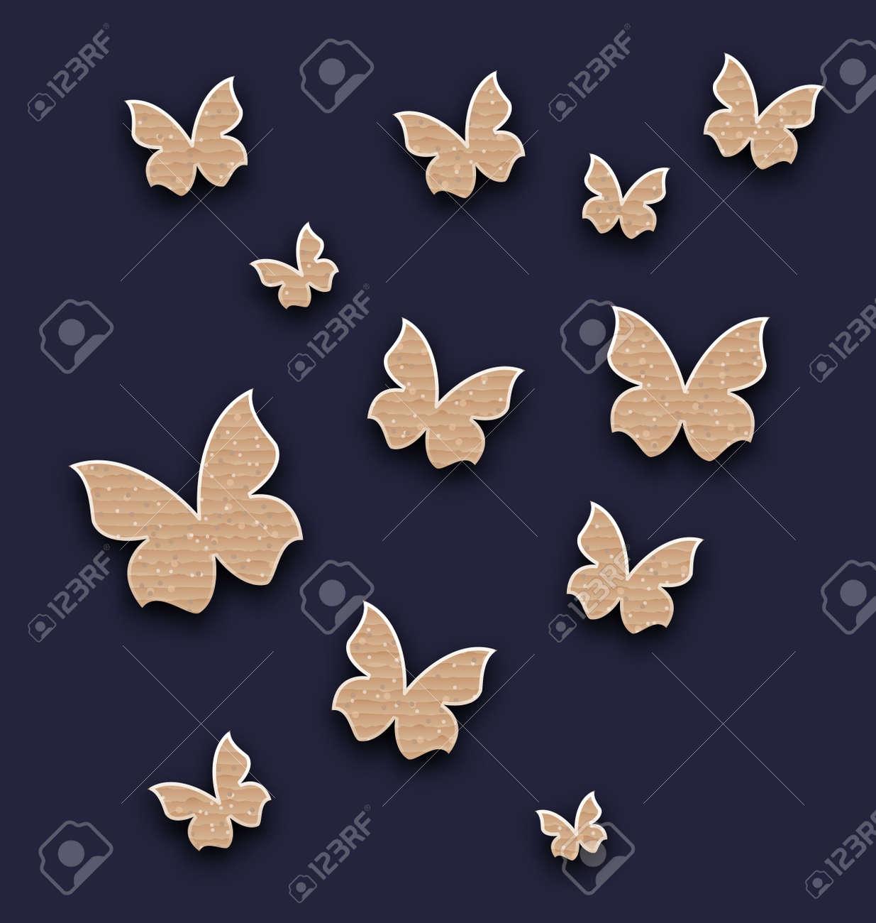 Papel Pintado Ilustración Con Mariposas Hechas En Cartón De Papel ...