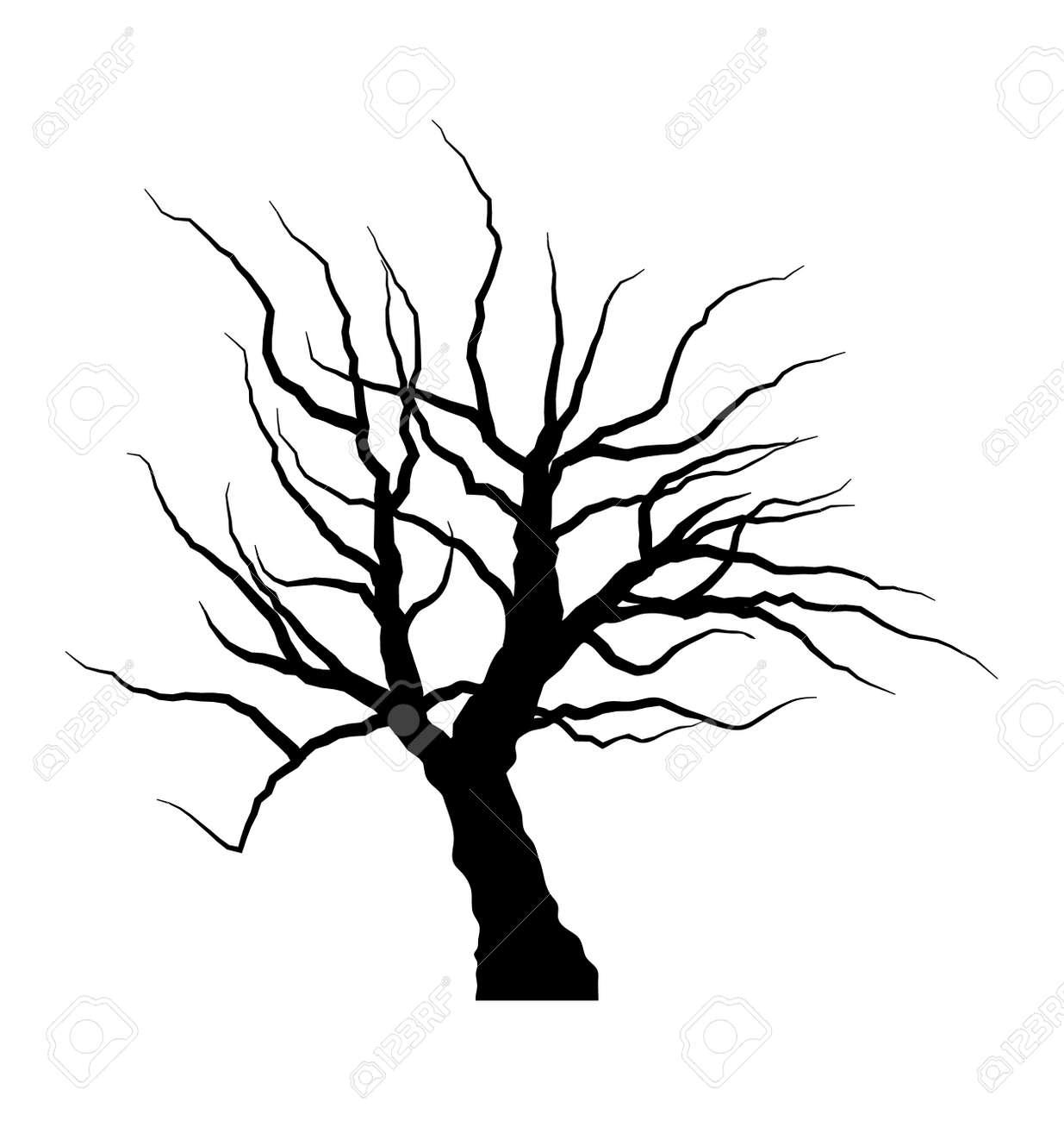 Dibujo Ilustración De árbol Muerto Sin Hojas Aisladas Sobre Fondo